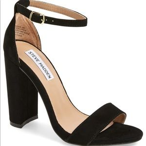 Steve Madden Black Suede Chunky Carson Sandals